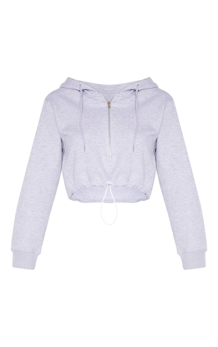 Grey Zip Front Toggle Crop Hoodie 3