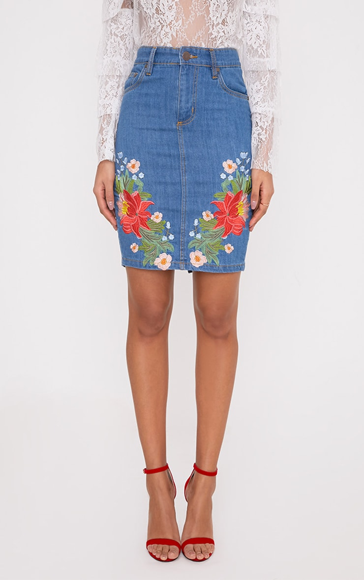 Seren Mid Wash Floral Embroidered Midi Skirt 2