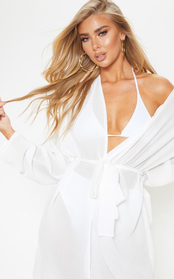 White Crinkle Textured Short Beach Kimono 5
