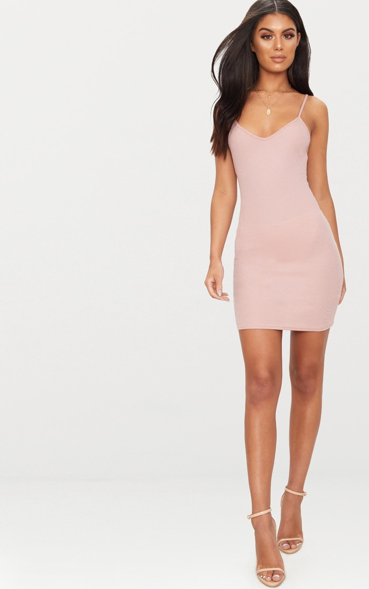 Basic Dusty Pink Strappy V Neck Ribbed Bodycon Dress 4
