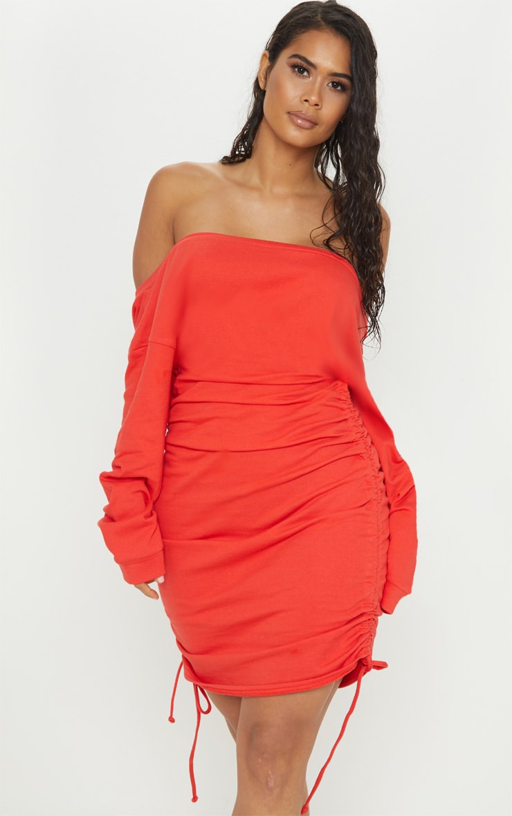 3f156a90b5 Red Bardot Ruched Side Jumper Dress image 1