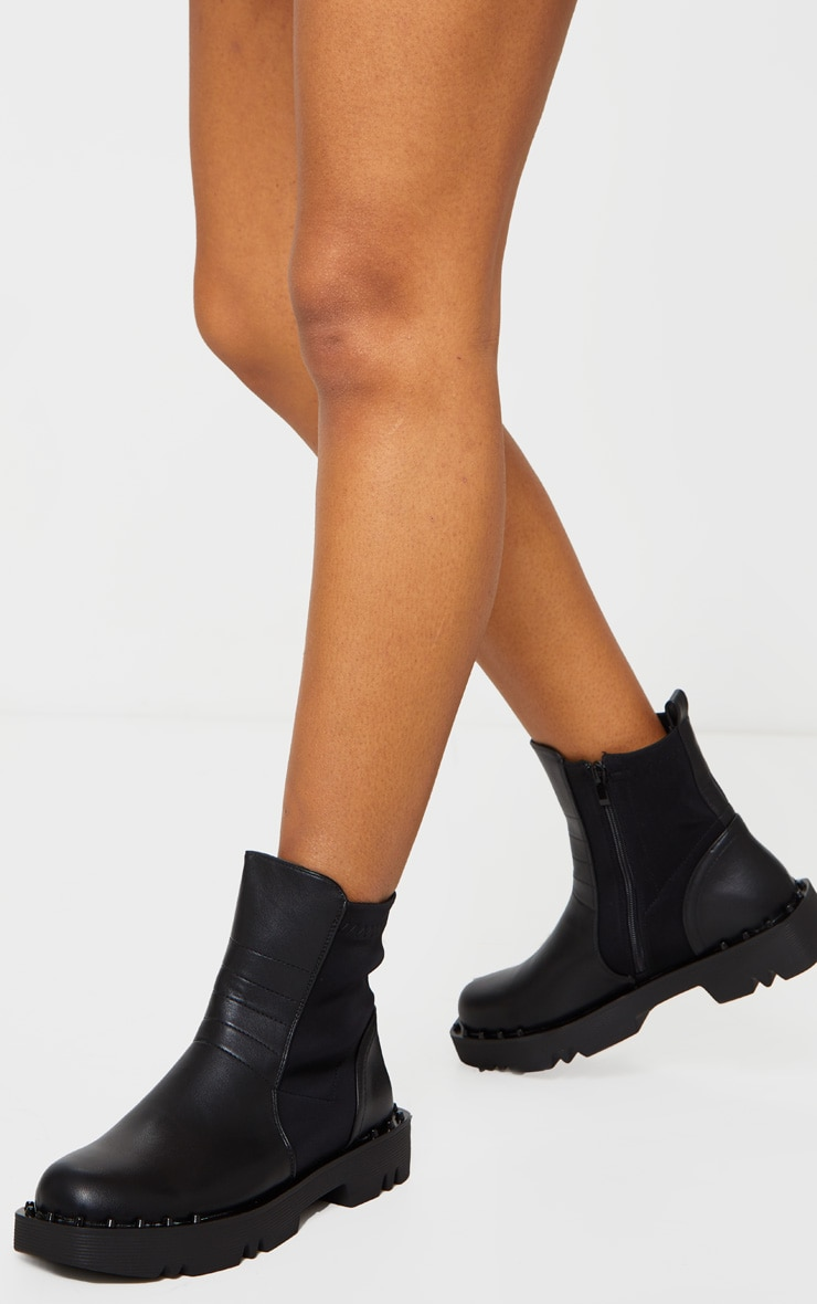 Black Chunky Sole Studded Chelsea Boots 1