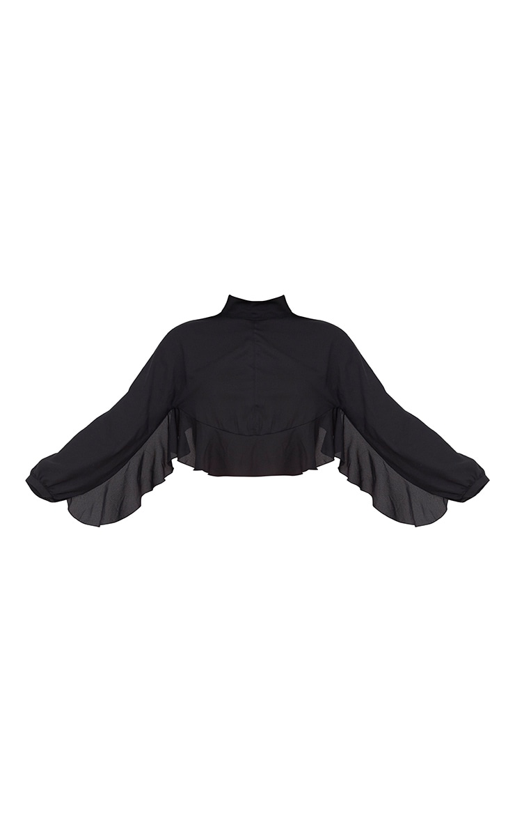 Black Frill Detail Open Back Blouse 3