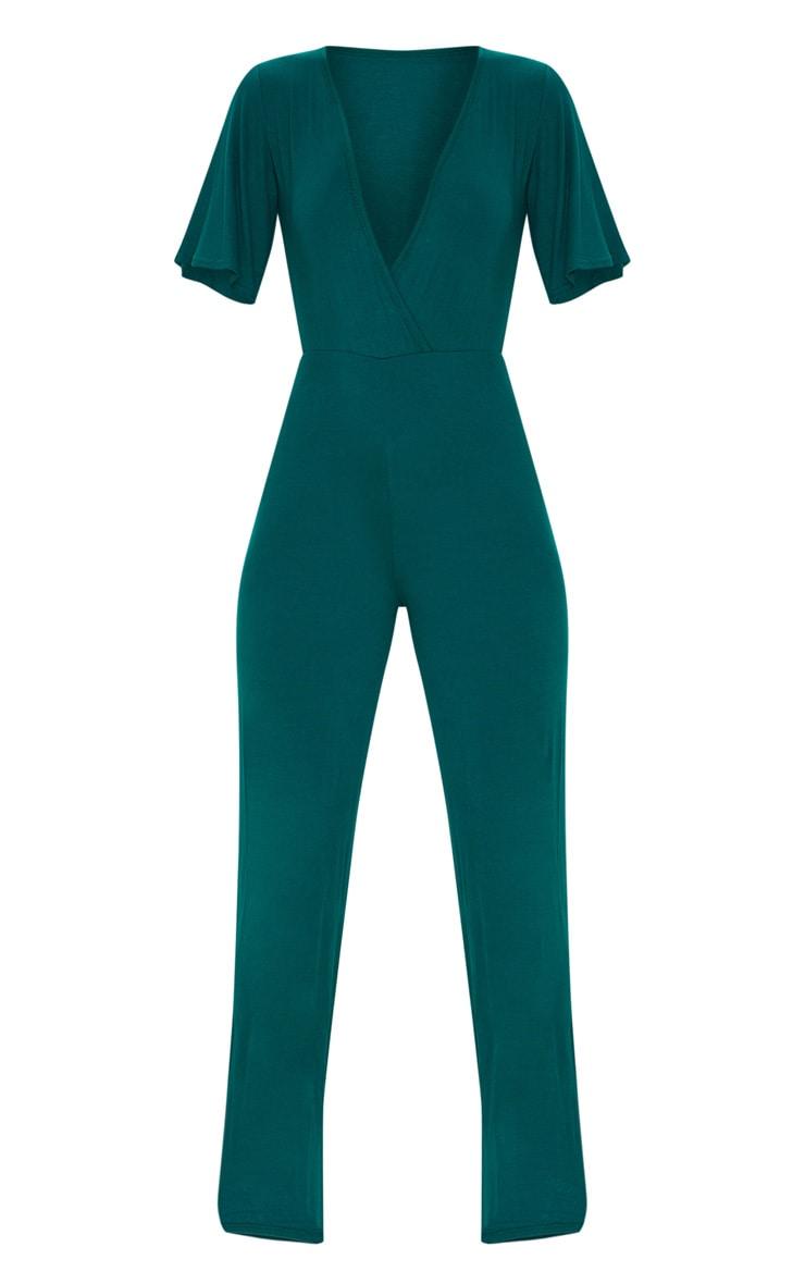 Emerald Green Wrap Front Short Sleeve Jumpsuit 3