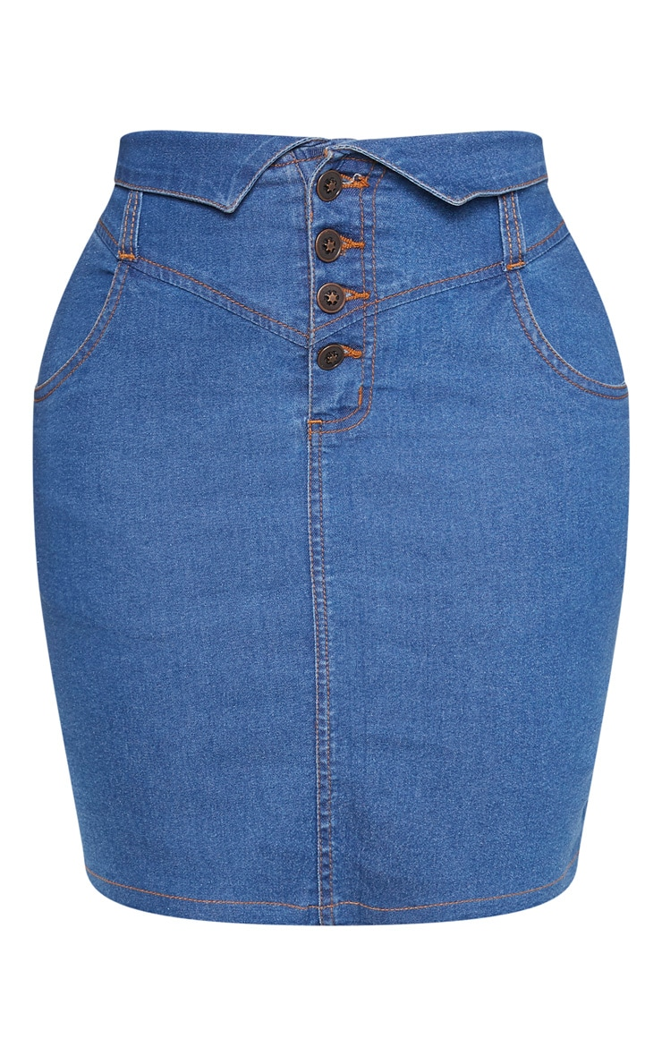 Shape Mid Wash Button Up Denim Skirt 3