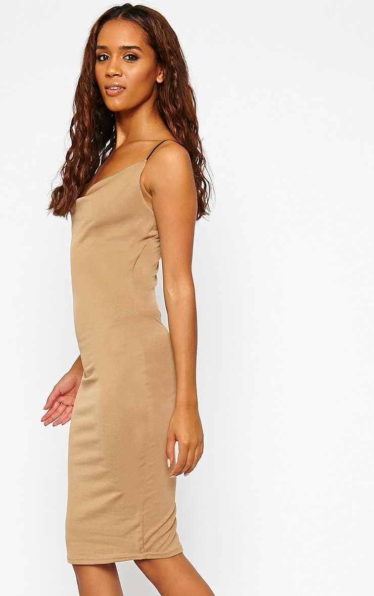 Saki Camel Cowl Neck Dress 4