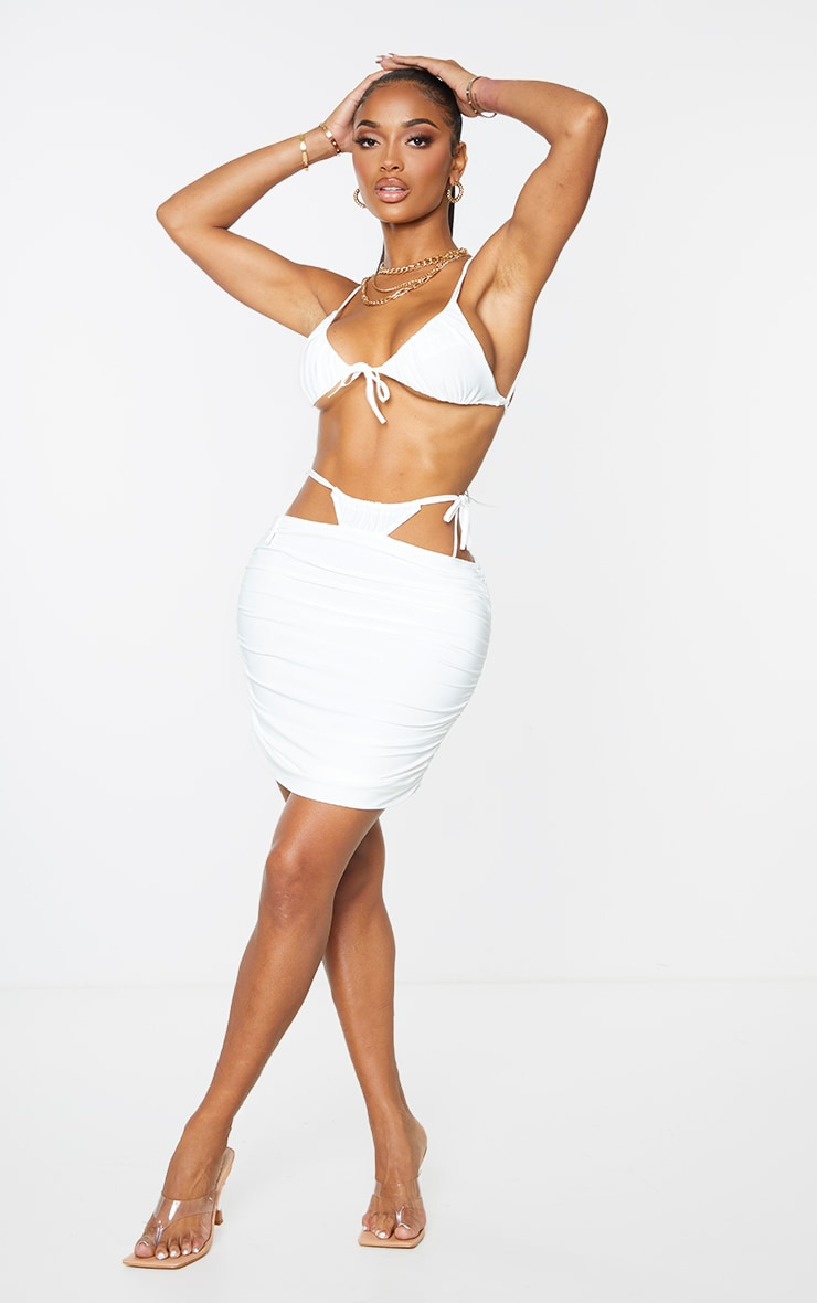 Shape Cream Slinky Ruched Tie Side Bodycon Skirt