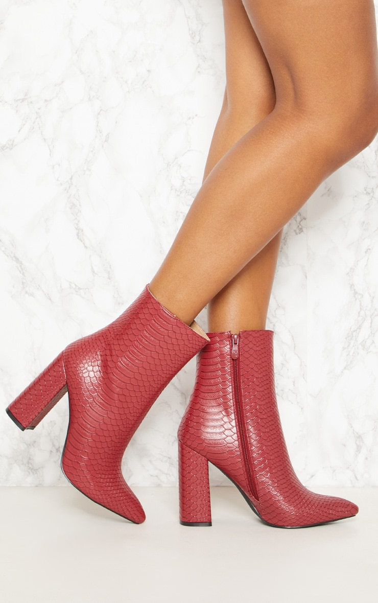 Red Faux Snake Ankle Boot