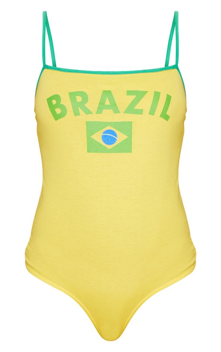 Yellow Brazil Slogan Square Neck Thong Bodysuit  3