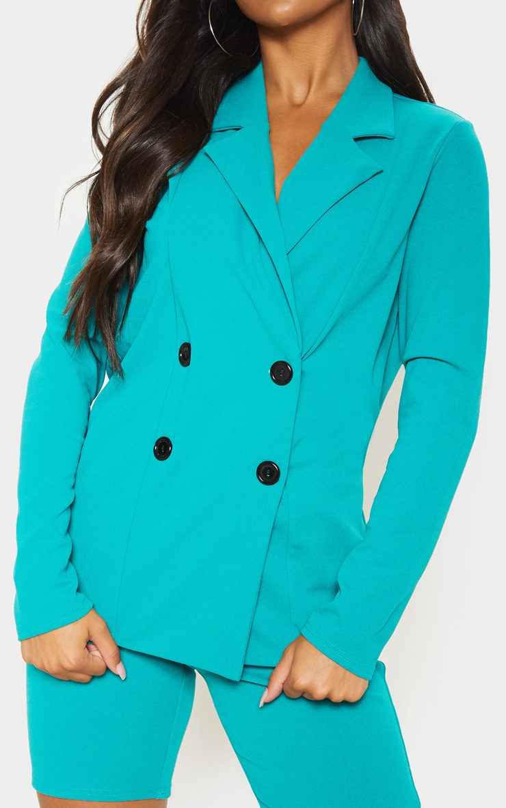 Teal Double Breasted Button Suit Jacket  5