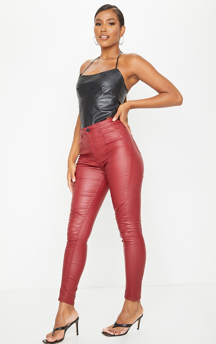 Red Biker Coated Skinny Jeans 1