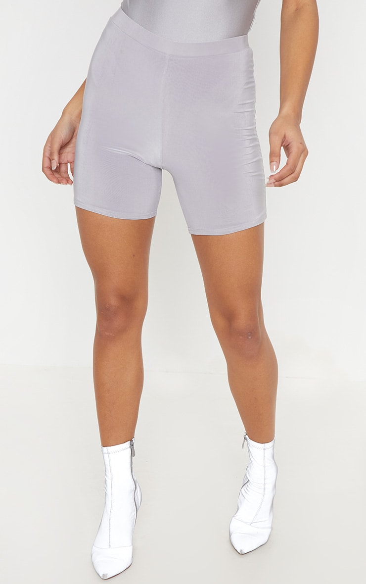 Silver Grey Slinky Ruched Bum Cycle Short 2