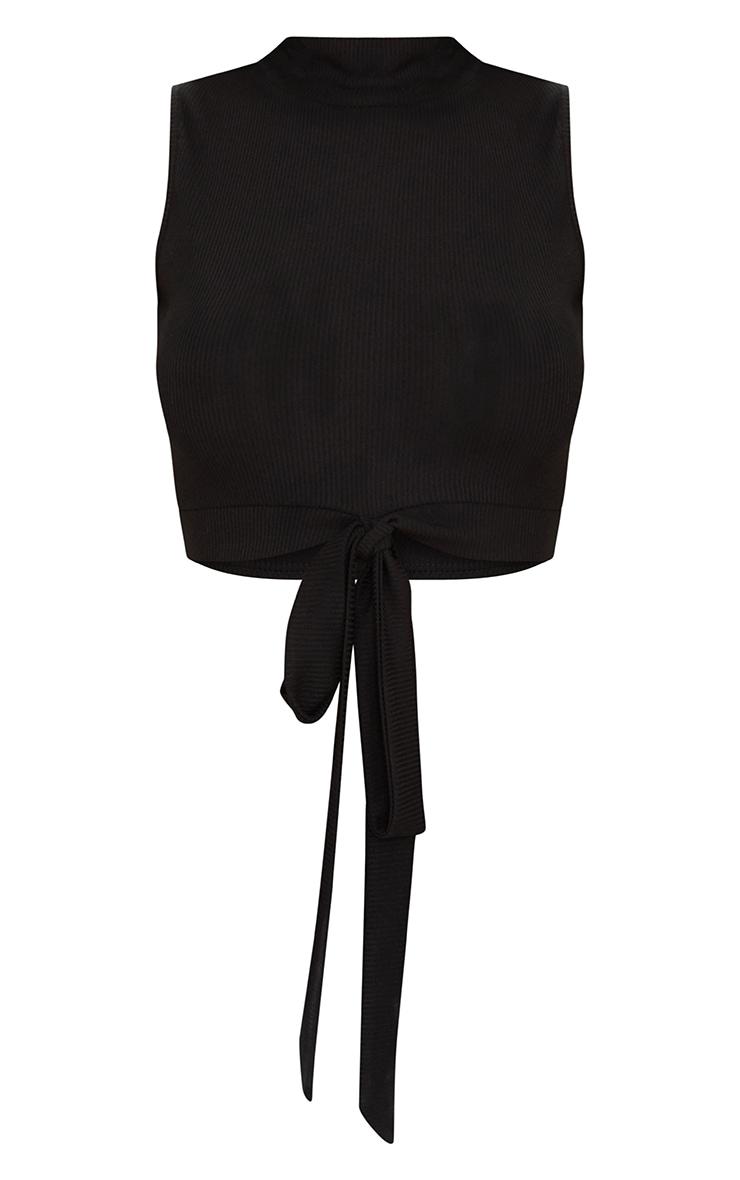 Black Rib High Neck Tie Waist Crop Top  3