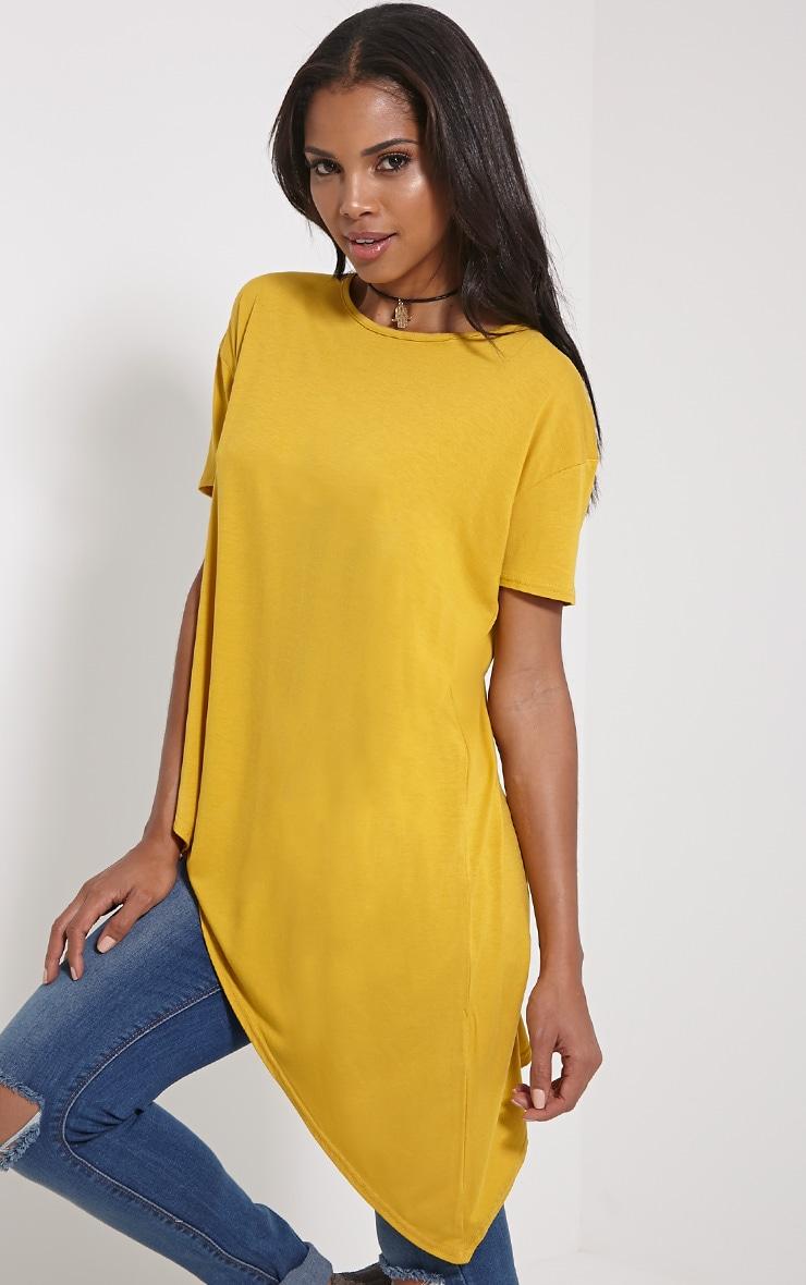 Amore Mustard Asymmetric Hem T-Shirt 4