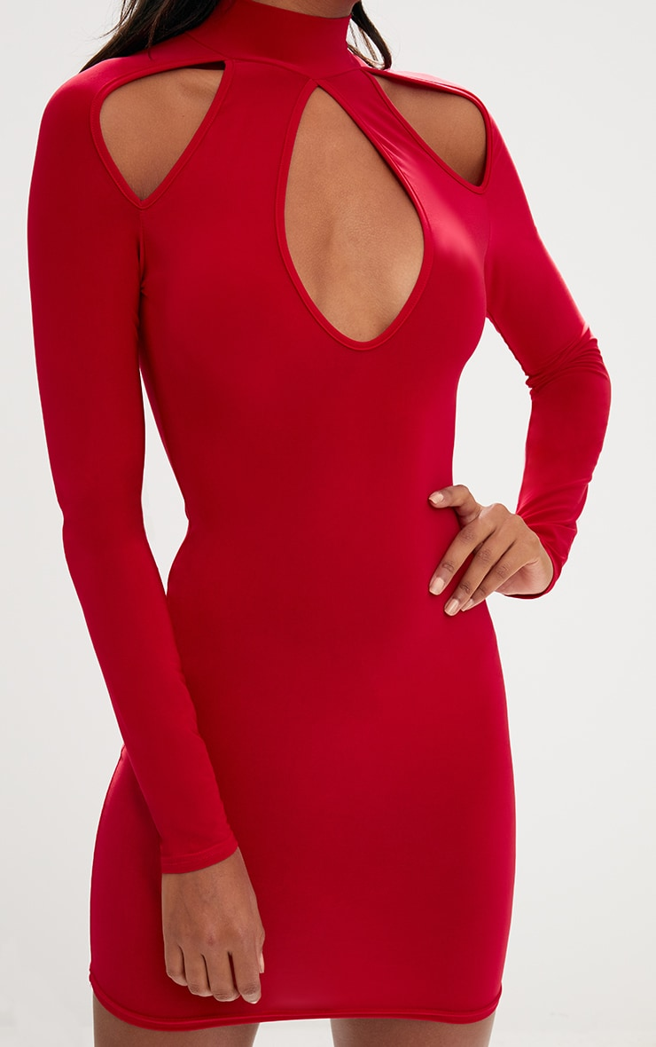 Red Open Arm Detail Long Sleeve Bodycon Dress 5