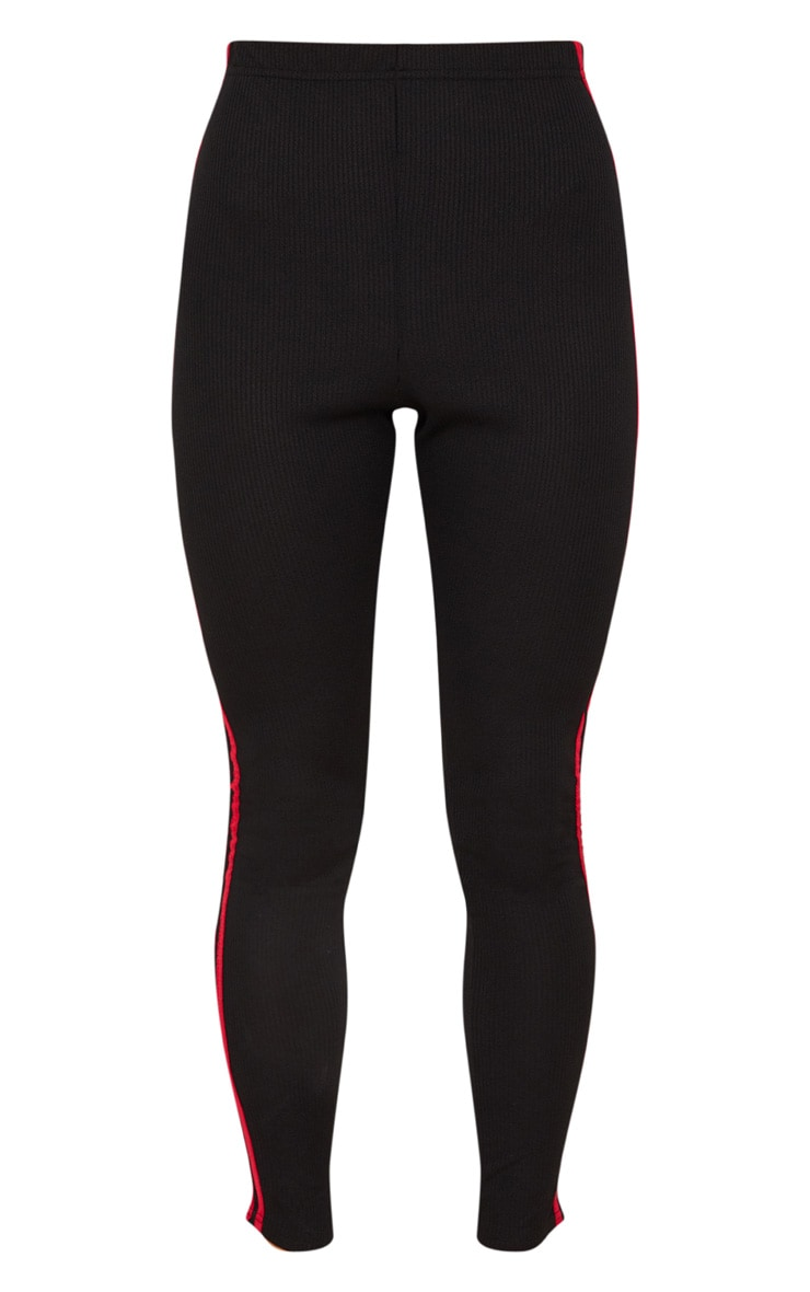 Black Rib Sport Stripe Legging 3