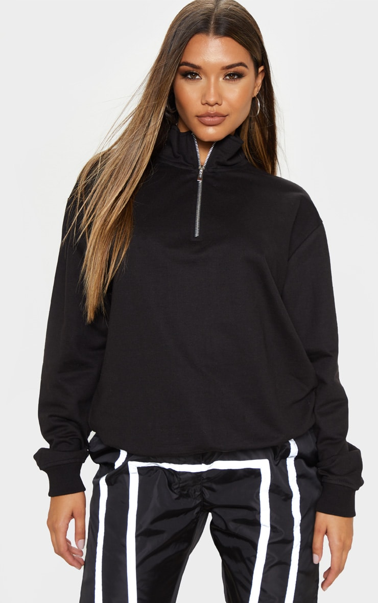 Black Zip Front Oversized Sweater 1