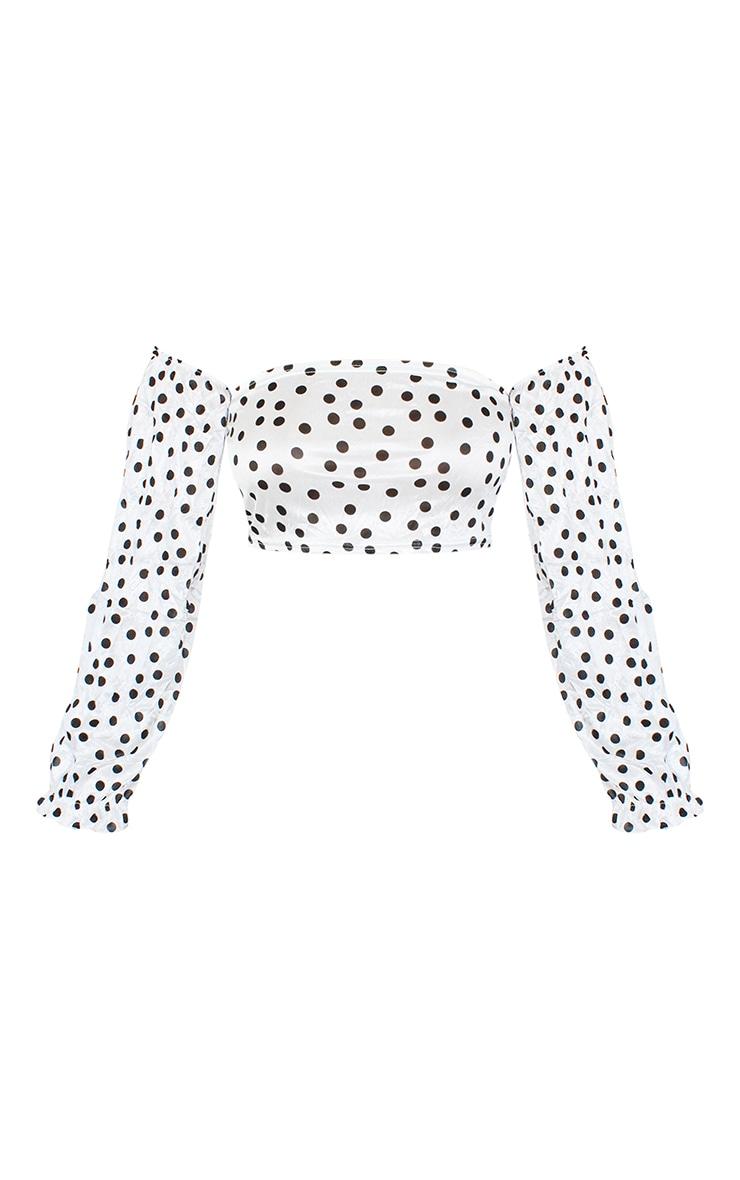 Petite White Polka Dot Long Sleeve Crop Top 5