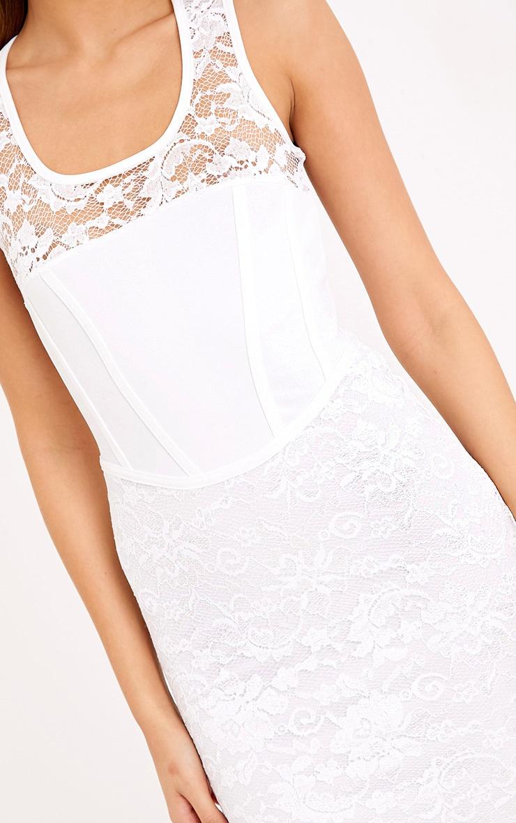 Cleoe White Lace Corset Detail Bodycon Dress 5