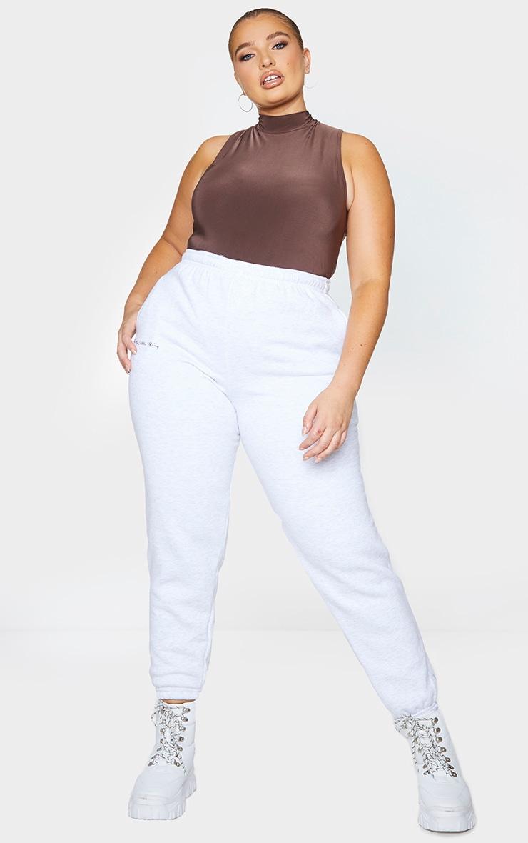 Plus Dark Brown Slinky High Neck Sleeveless Bodysuit 1