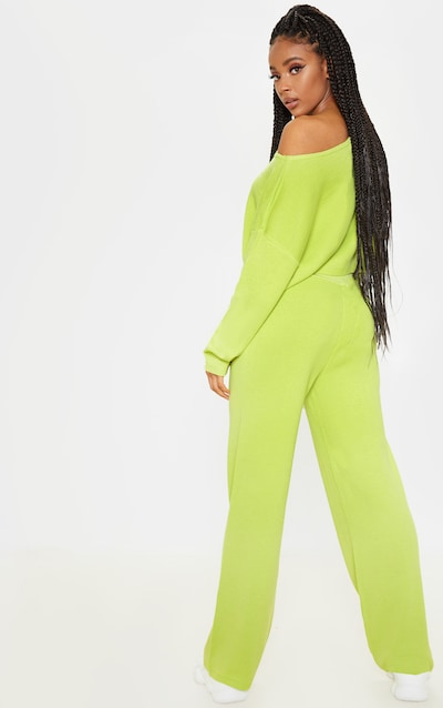 Lime Knitted Wide Leg Lounge Set