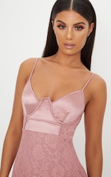 6e6c8e8db9 Dusty Pink Satin Top Bustier Lace Bodycon Dress image 5