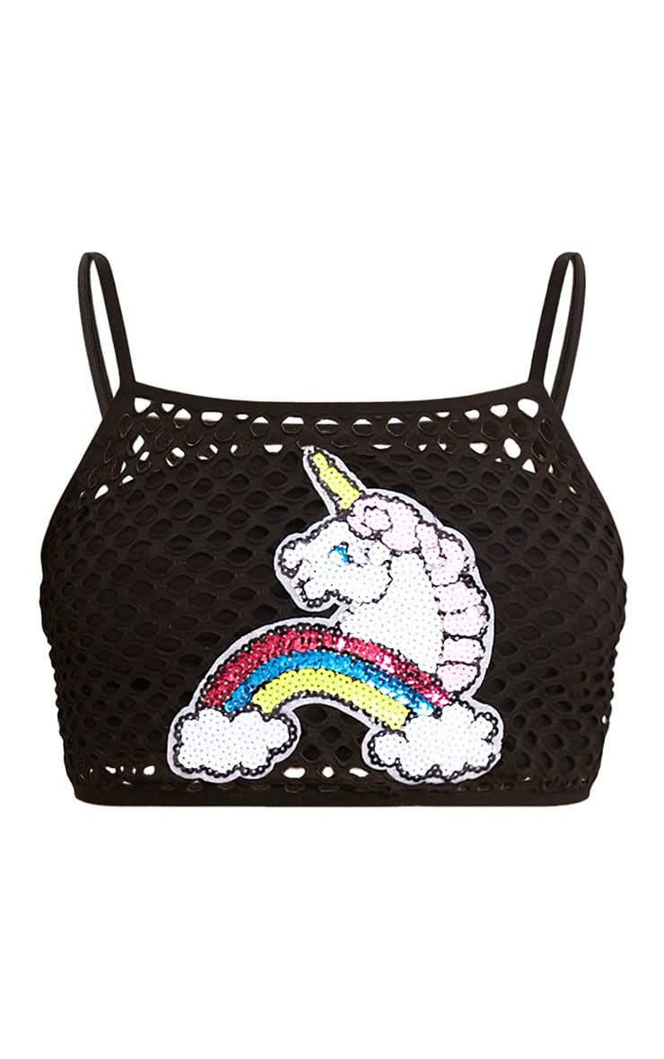 Trixie Black Fishnet Unicorn Applique Crop Top  3