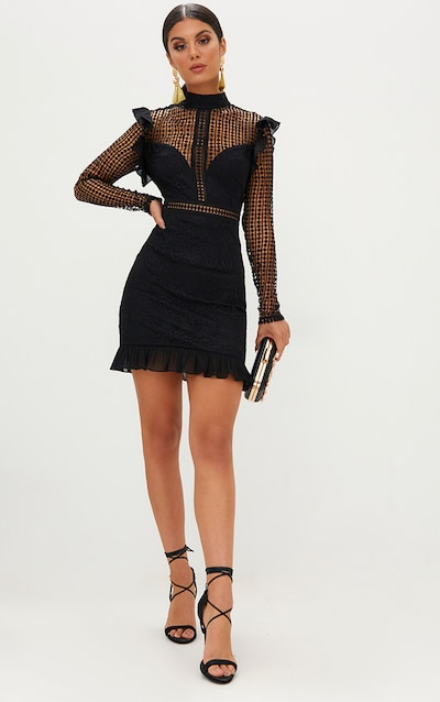 Black Lace Chiffon Frill Detail Bodycon Dress