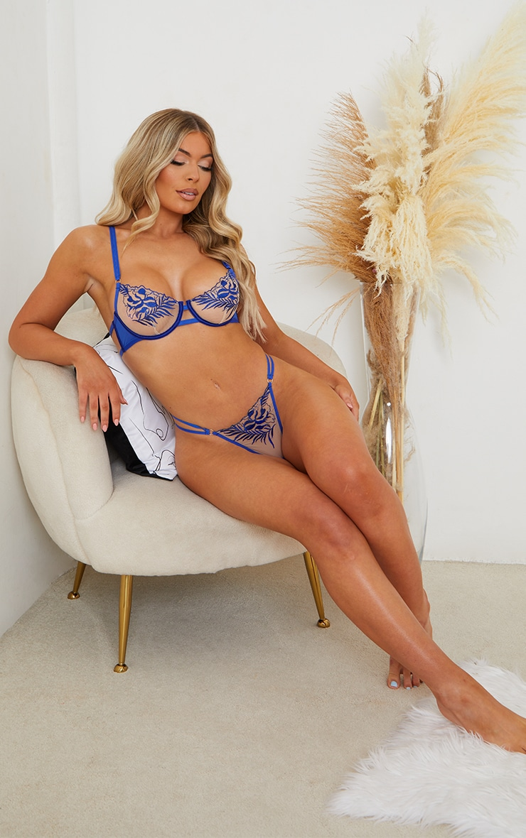 Cobalt Embroidered Lace Thong 3