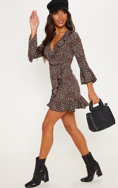 2655754bcb Chocolate Brown Polka Dot Leopard Print Frill Wrap Tea Dress
