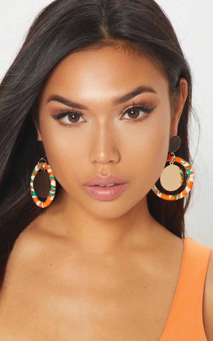 Orange Printed Earrings 1