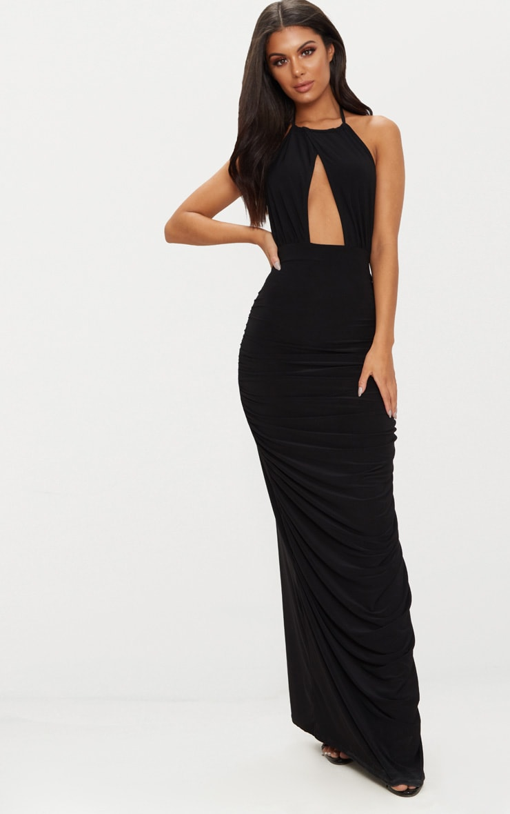 Black Halterneck Cut Out Ruched Detail Maxi Dress 1