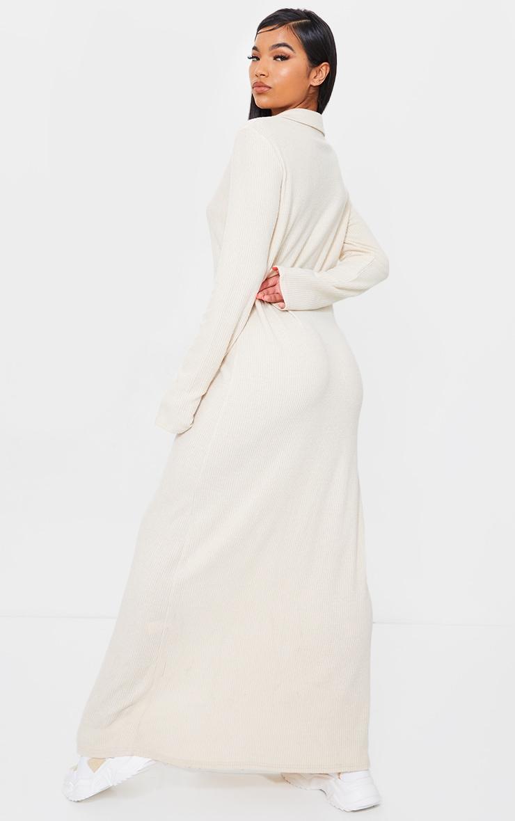 Stone Brushed Rib Button Up Collar Detail Maxi Dress 2
