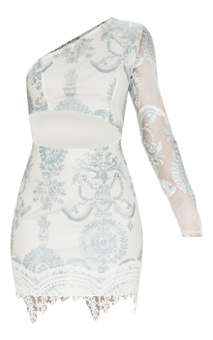 Grey Embroidered Lace One Shoulder Bodycon Dress 3