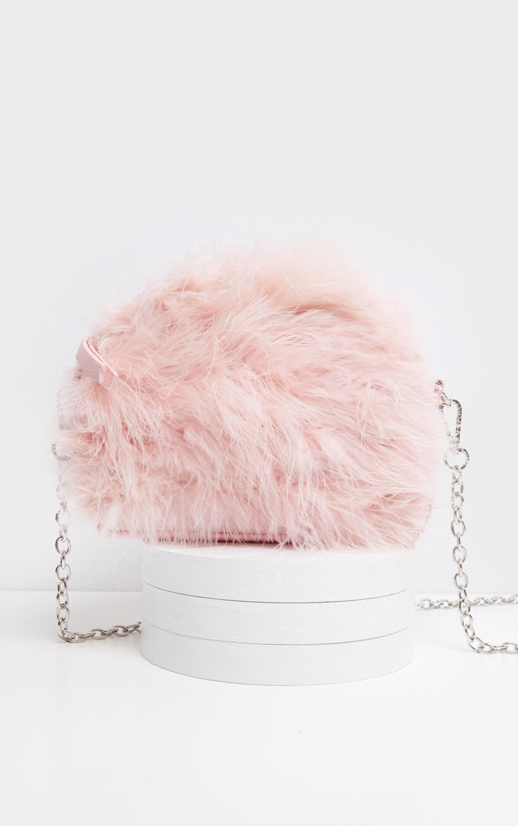 Pink Marabou Feather Large Clutch Bag 2