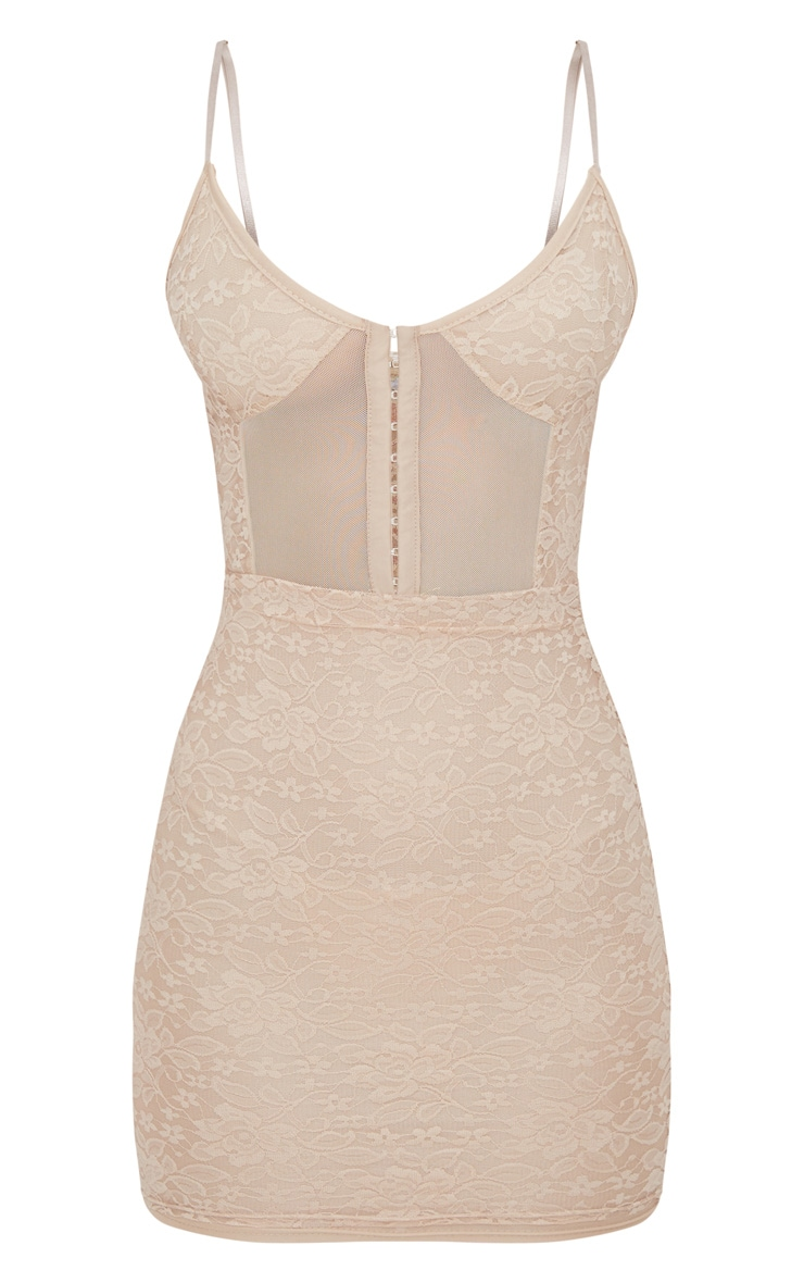 Stone Lace Panelled Hook And Eye Detail Bodycon Dress 3