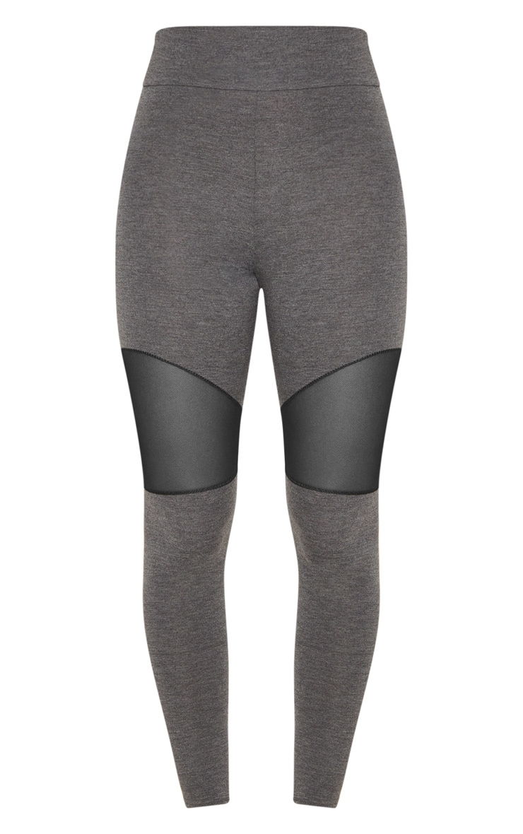 Grey Mesh Panel Jersey Legging  3