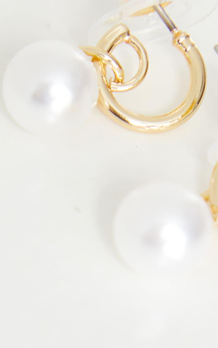 Gold Mini Dainty Pearl Hoop Earrings 3
