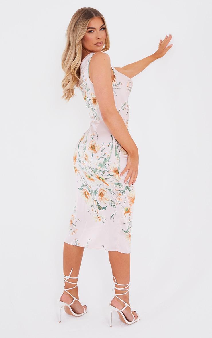 Pale Pink Floral Print Asymmetric Cowl Midi Dress 2
