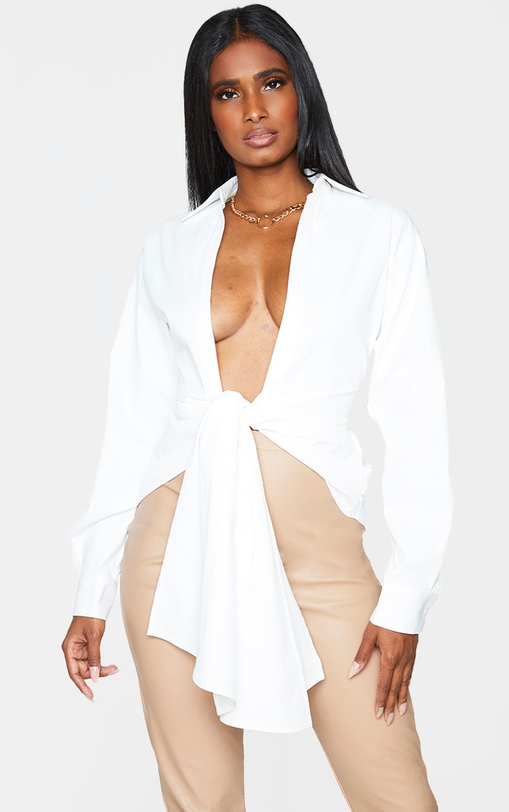 White Woven Ruched Tie Front Plunge Shirt 1