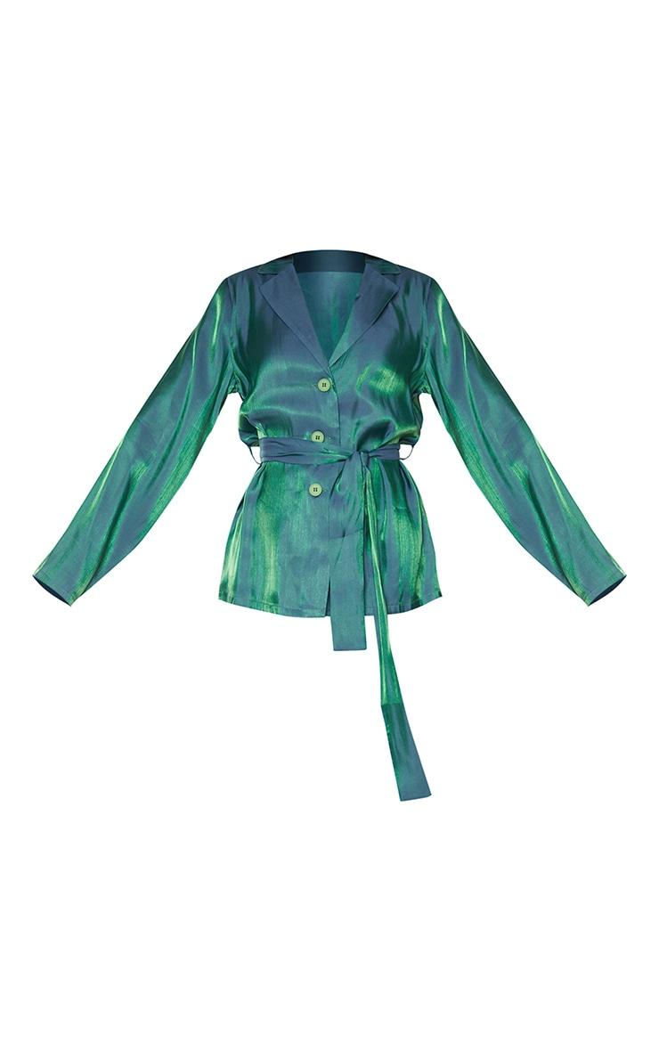 Green Metallic Tie Front Collared Long Sleeve Shirt 5