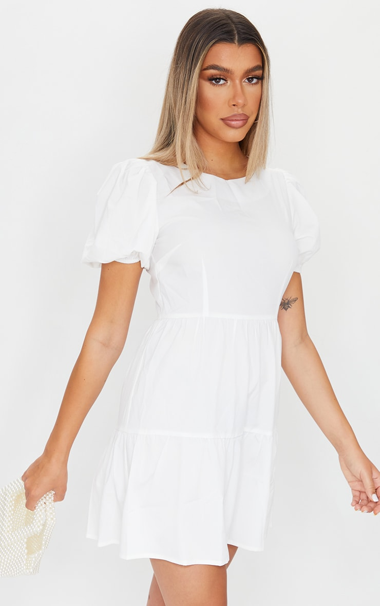 White Woven Tiered Puff Sleeve Smock Dress 1