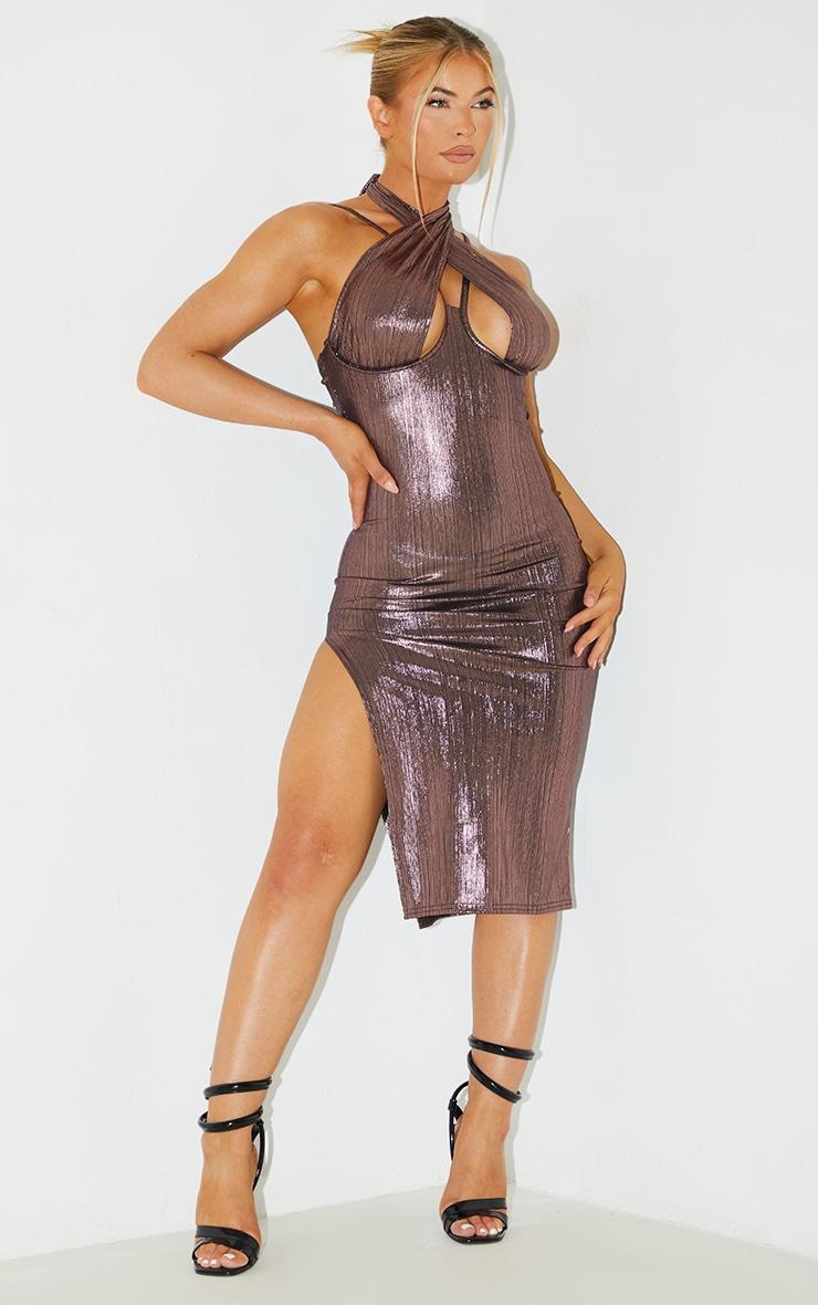 Pink Metallic Halterneck Underbust Detail Midi Dress 1