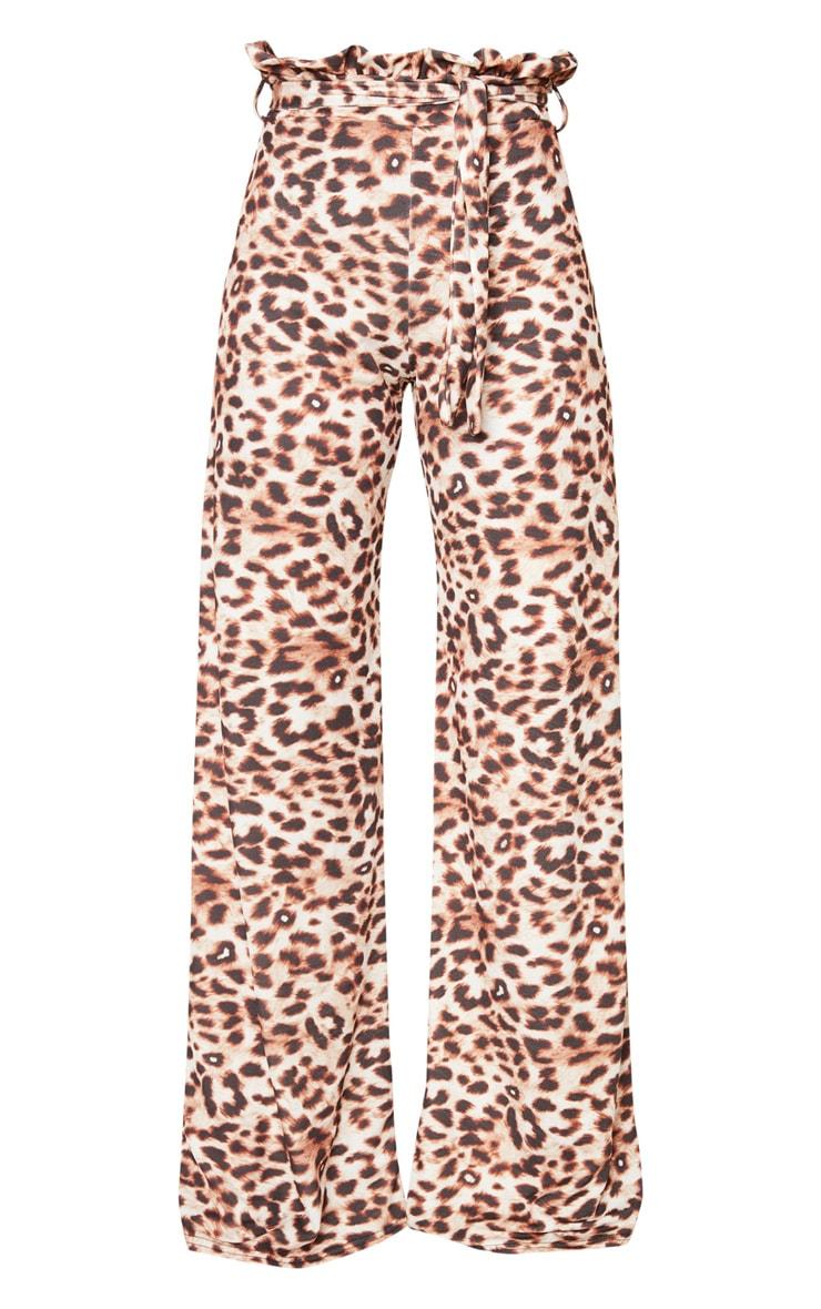 Leopard Paperbag Waist Wide Leg Trousers 3