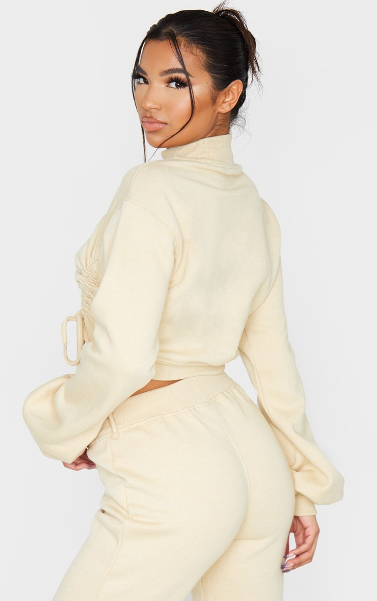 Stone Ruched Tie Front Crop Sweater 3
