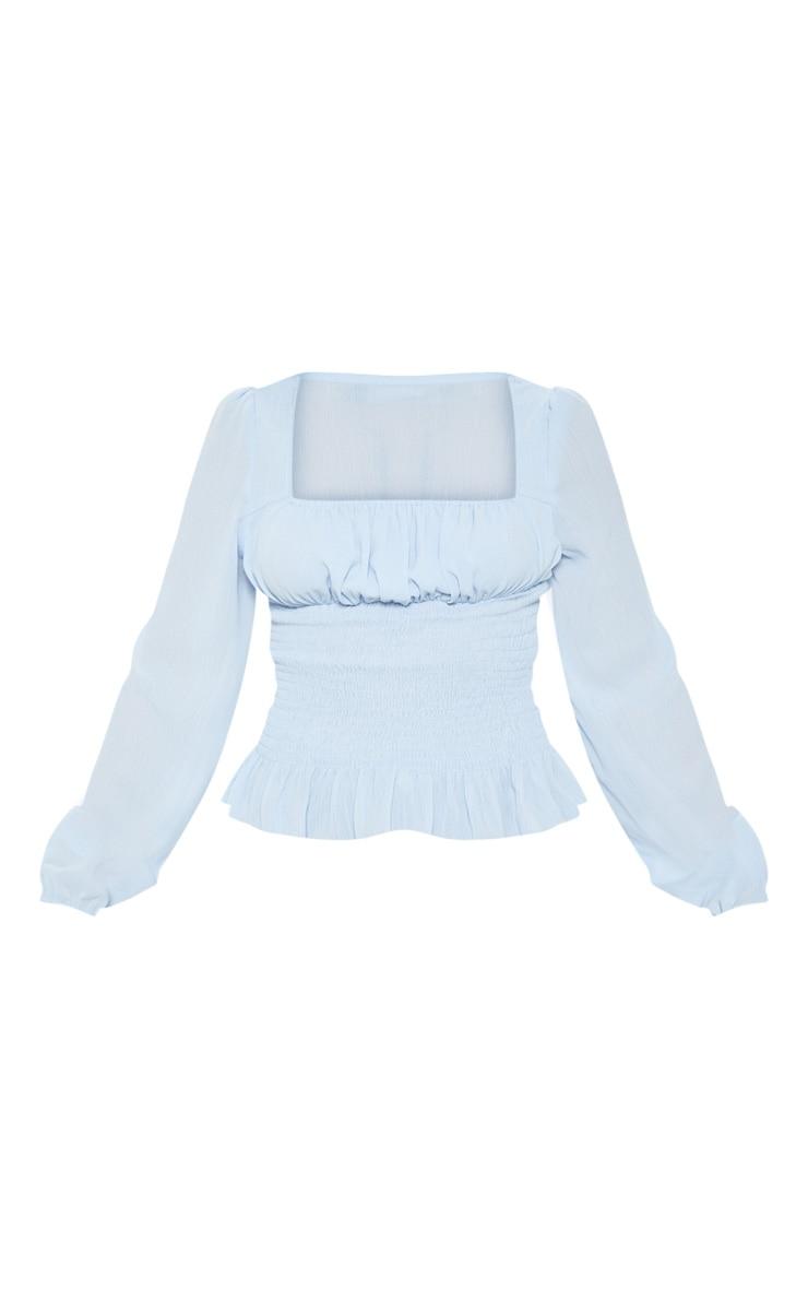 Petite Baby Blue Chiffon Shirred Long Sleeve Blouse 3