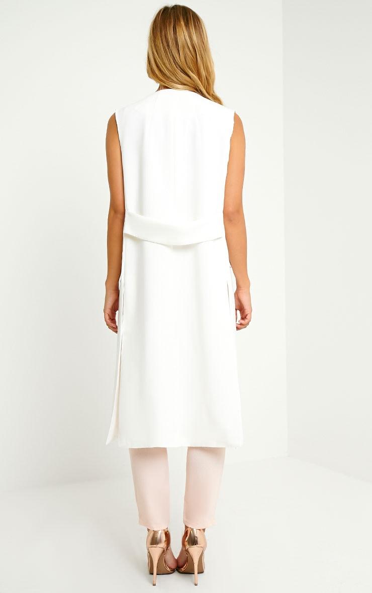 Vari White Long Line Sleeveless Tailored Blazer 2