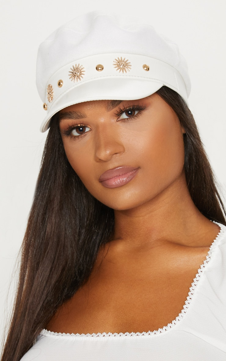 White Sundial Baker Boy Hat