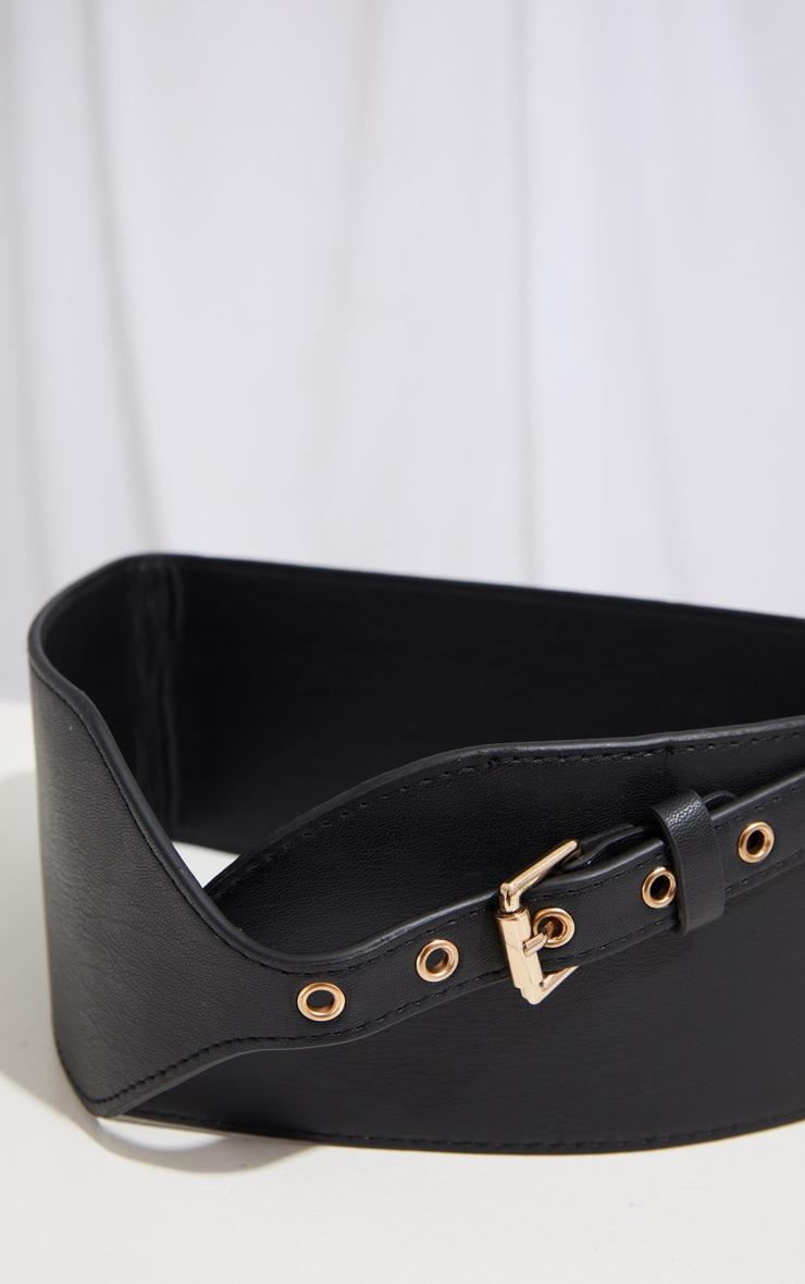 Black PU Chunky Waist Belt 3
