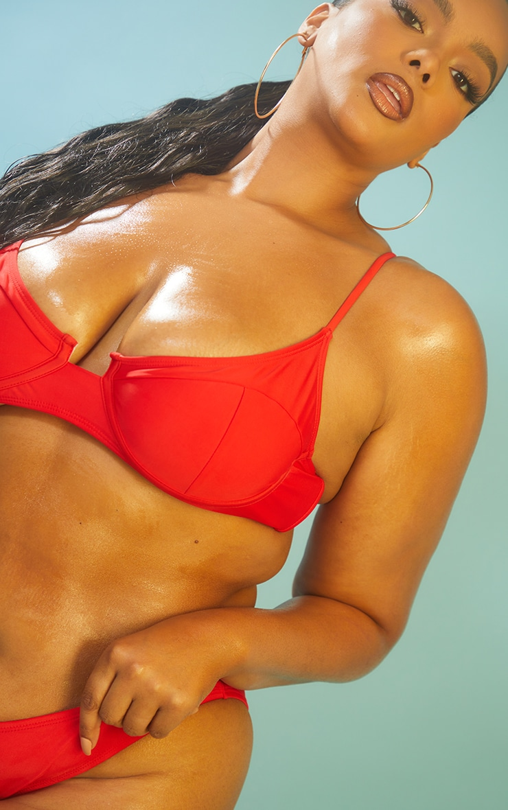 Recycled Plus Red Mix & Match Underwired Balconette Bikini Top 4
